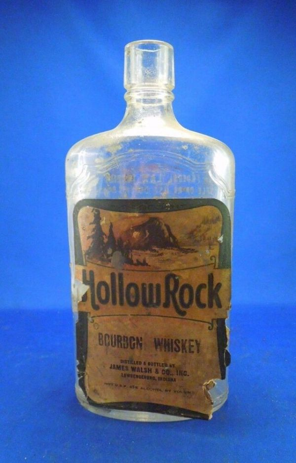 Vintage Hollow Rock Bourbon Whiskey Glass Alcohol Bottle w ...