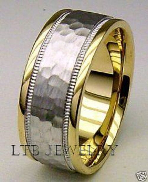 18K MENS TWO TONE GOLD WEDDING BAND RING HAMMERED 7MM EBay