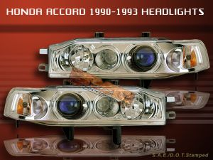 19901993 HONDA ACCORD PROJECTOR HEADLIGHTS CHROME NEW