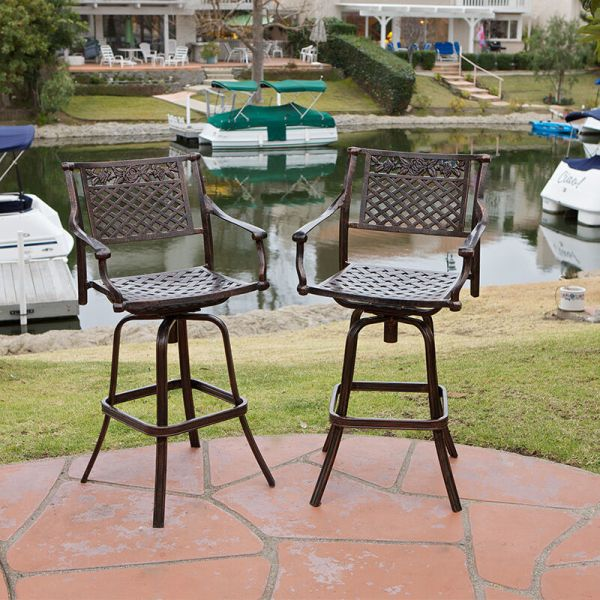 outdoor patio swivel bar stools Set of 4 Outdoor Patio Furniture Cast Aluminum Swivel Bar