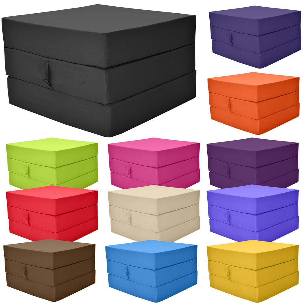 Fold Out Adult Cube Guest Z Bed Chair Stool Single Futon