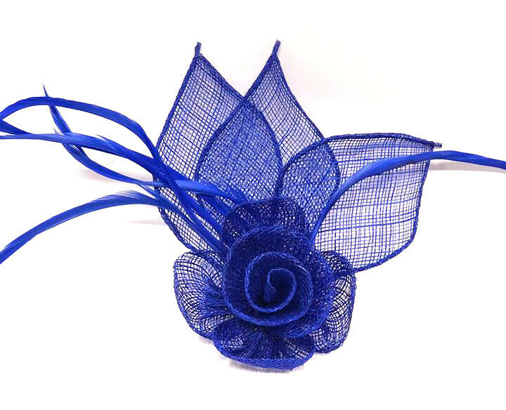 Royal Blue Flower Feather Beak Clip Fascinator Ladies Day