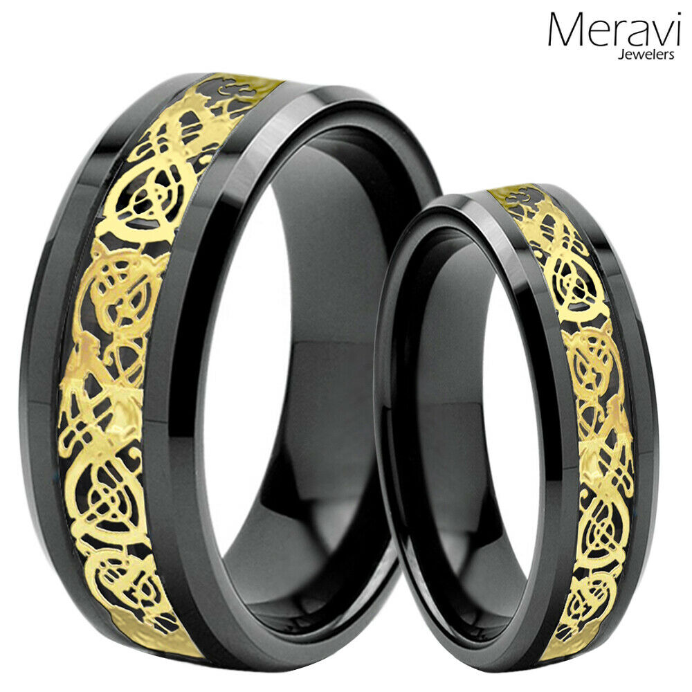 His Amp Her Black Tungsten Carbide Gold Celtic Dragon Mens