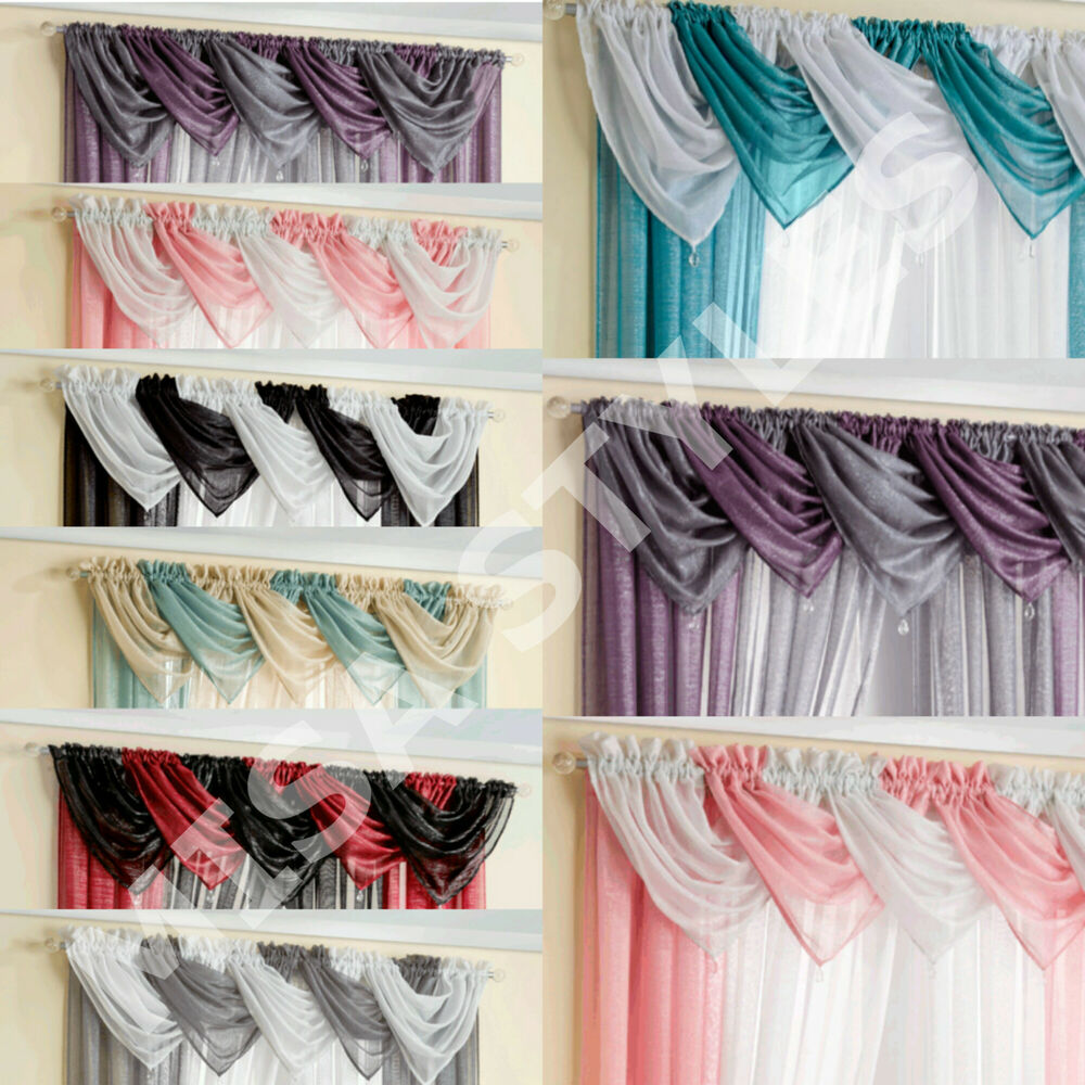 GLITTER SPARKLE READY MADE PLAIN VOILE SWAGS NET CURTAIN PELMET VALANCE DRAPES EBay
