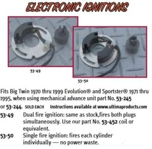 Ultima Single Fire Electronic Ignition requires advance