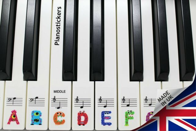 Keyboard or Piano Stickers 61 key set For Kids learn to ...