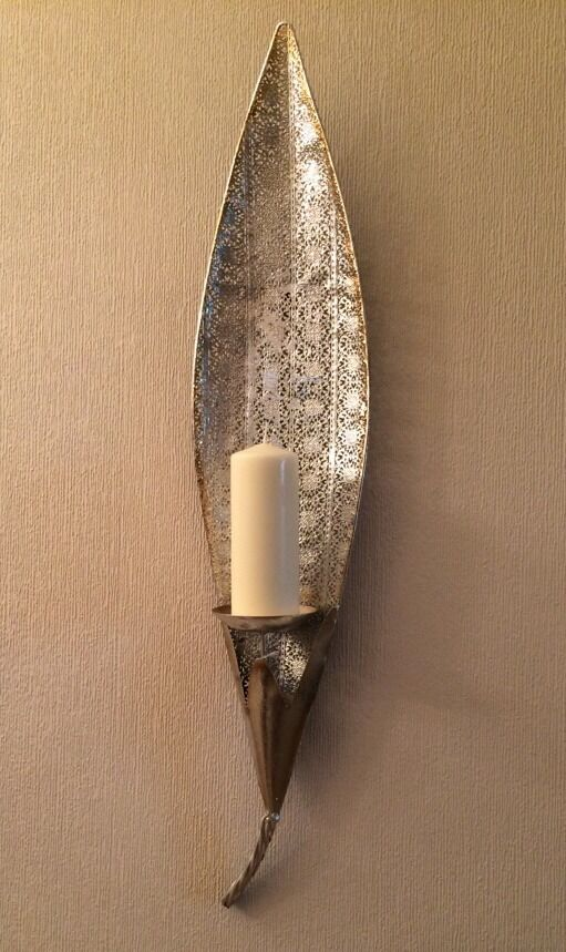 Vintage Moroccan Silver Gold LARGE Leaf Pillar Candle ... on Silver Wall Sconces For Candles id=47295