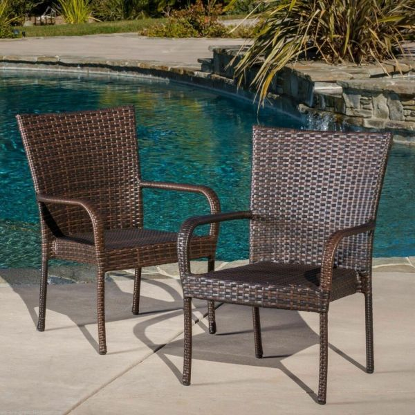 outdoor patio chairs Set of 2 Outdoor Patio Furniture Brown Wicker Stackable