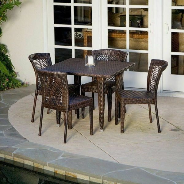 brown wicker patio dining set Outdoor Patio Furniture 5pc All-weather Brown Wicker