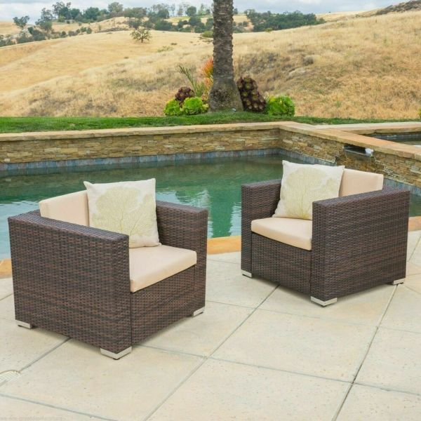 outdoor wicker patio furniture sets Set of 2 Outdoor Patio Furniture Brown Wicker Sofa Club
