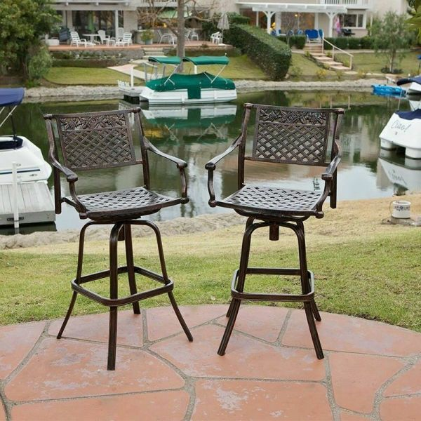 outdoor patio bar sets furniture Set of 2 Outdoor Patio Furniture Cast Aluminum Swivel Bar