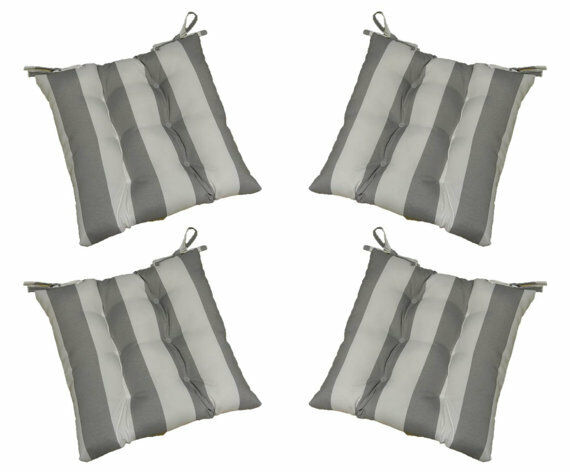 Set Of 4 In / Outdoor Tufted Chair Seat Cushions Gray
