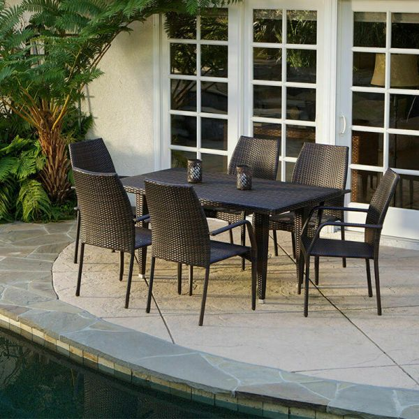 brown wicker patio dining set (7-Piece) Outdoor Patio Furniture Brown All-weather Wicker