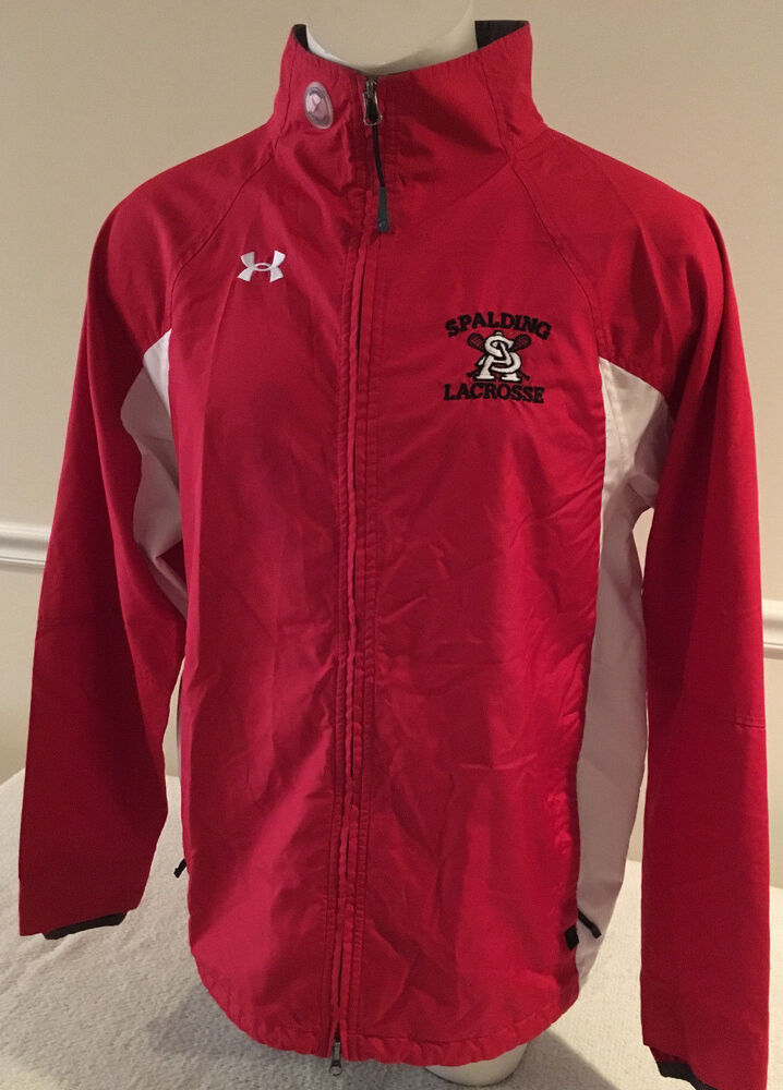 Red And White Under Armour Jacket Full Zipper Spalding Lacrosse Mens Large EBay