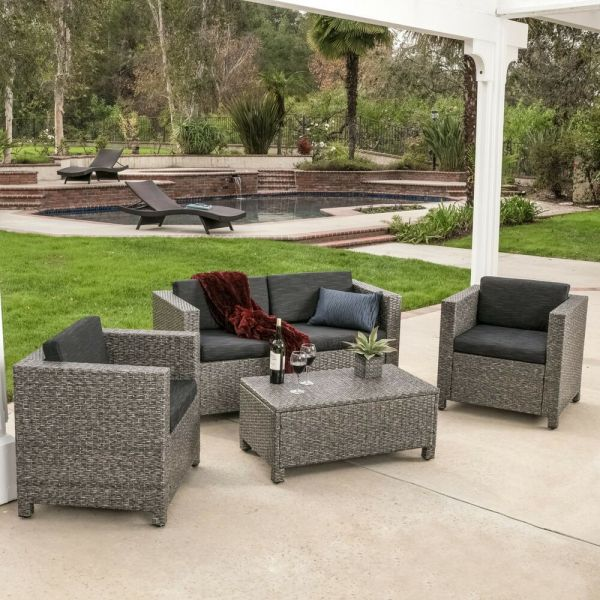 outdoor wicker patio furniture sectional sofa set Outdoor Patio Furniture Grey PE Wicker 4pcs Luxury Sofa
