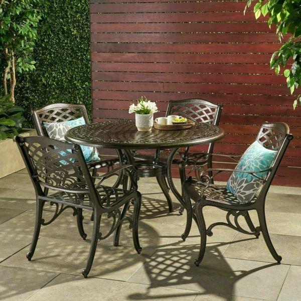 outdoor patio furniture Outdoor Patio Furniture 5pcs Bronze Cast Aluminum Dining