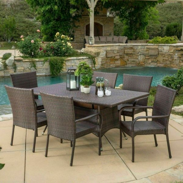 outdoor patio furniture sets Outdoor Patio Furniture 7pc Multibrown All-Weather Wicker