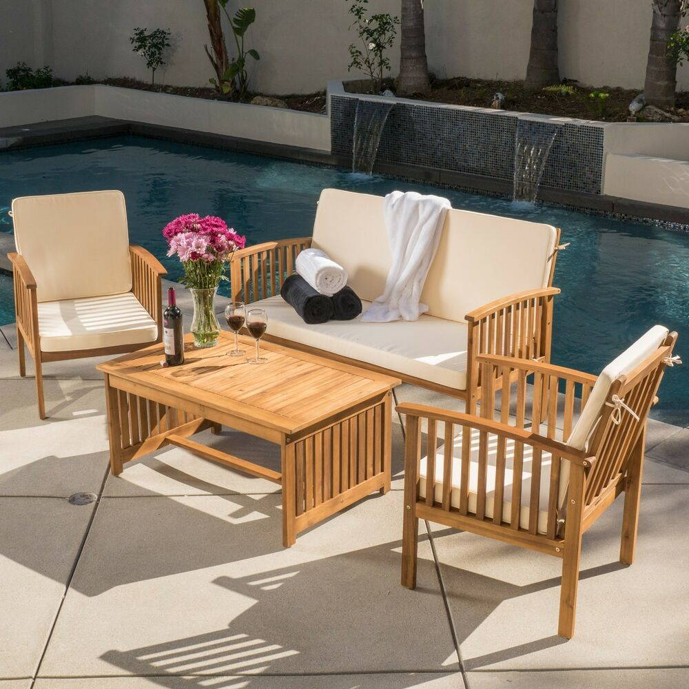 Casual Outdoor Patio Furniture Wood Stained Finish 4 Pc