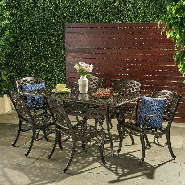 outdoor patio dining sets Outdoor 7-piece Cast Aluminum Rectangle Bronze Dining Set