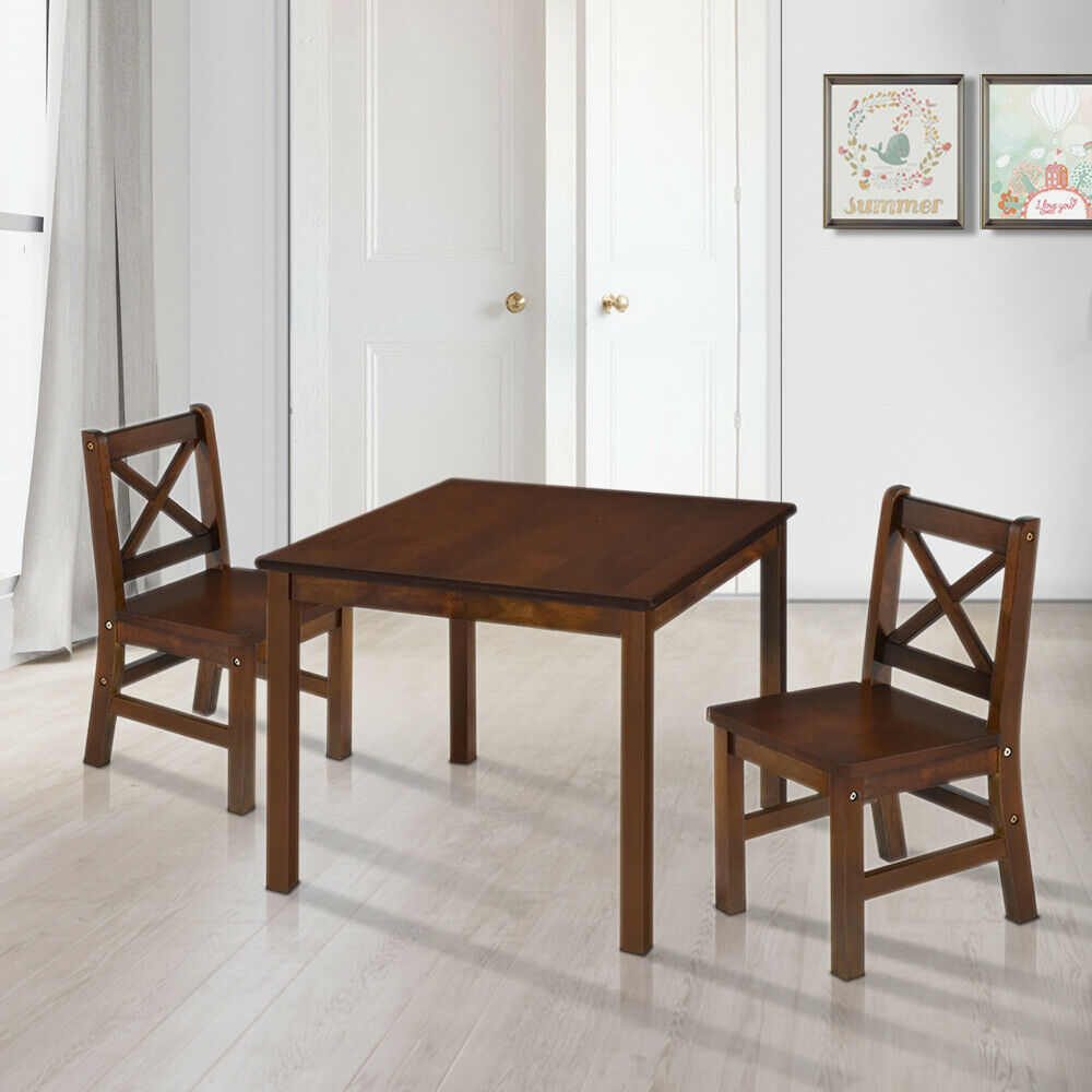 EHemco 3 Piece Kids Table And 2 Chairs Set Solid Hard Wood