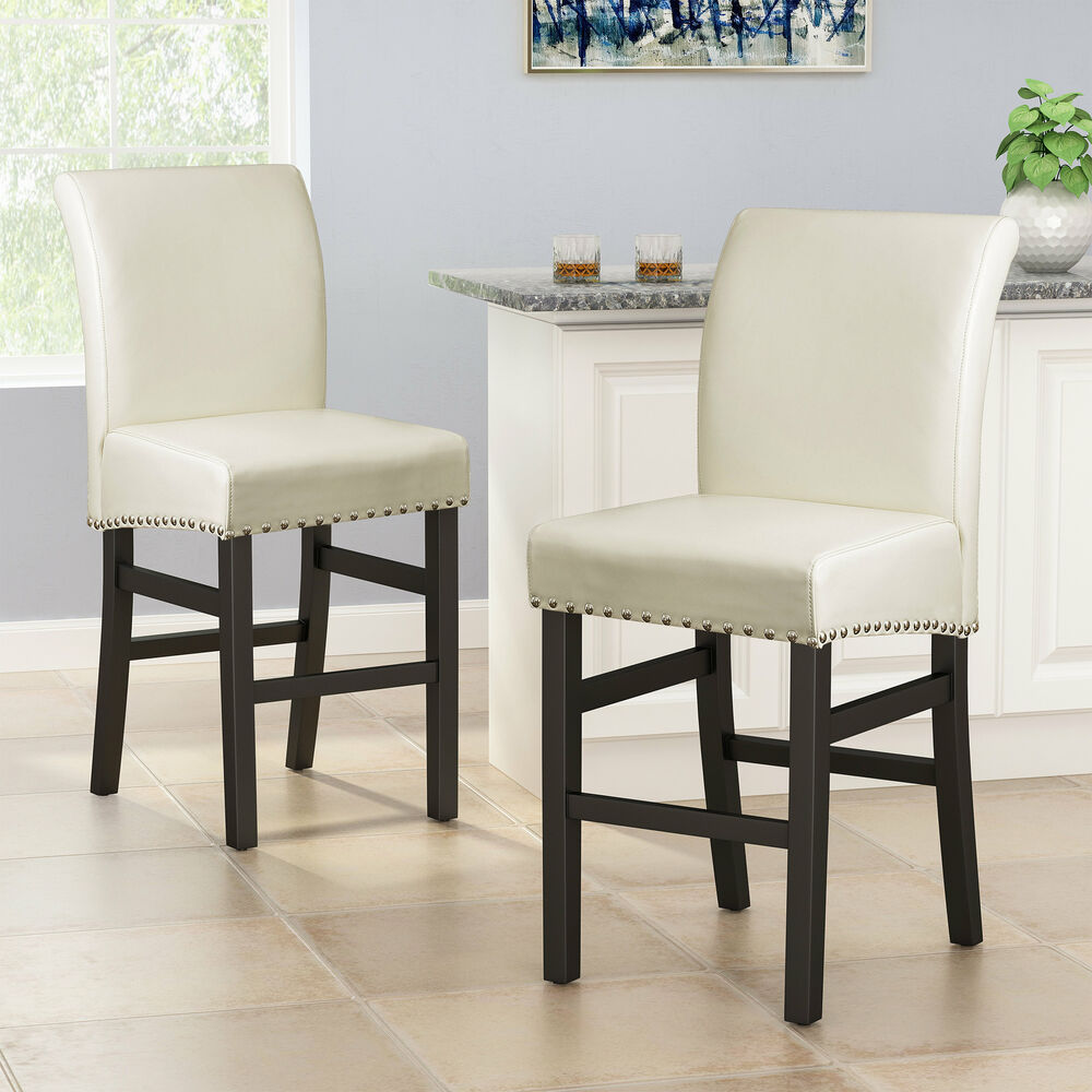 Set Of 2 Dining Room Ivory Leather Counter Stools W