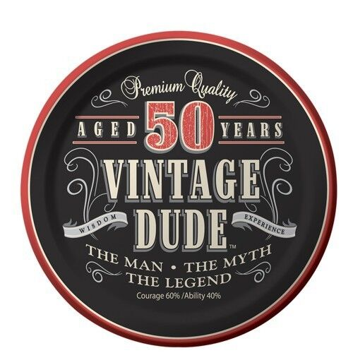 50th Birthday Vintage Dude Aged 50 Years Edible Icing