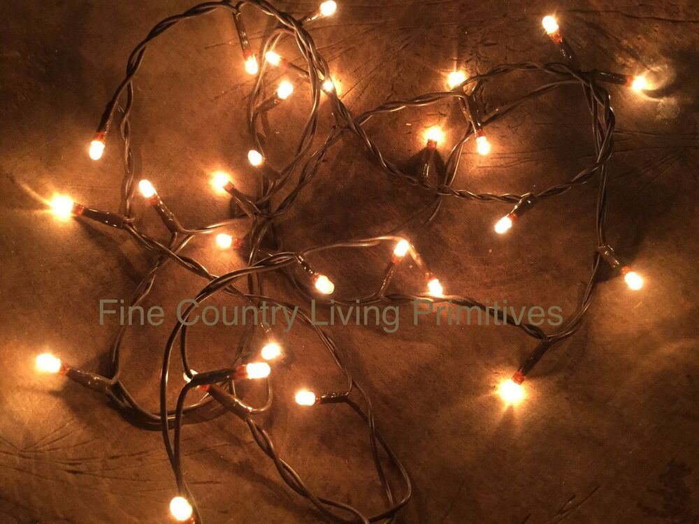 Primitive Country Christmas Teeny Rice String Lights On