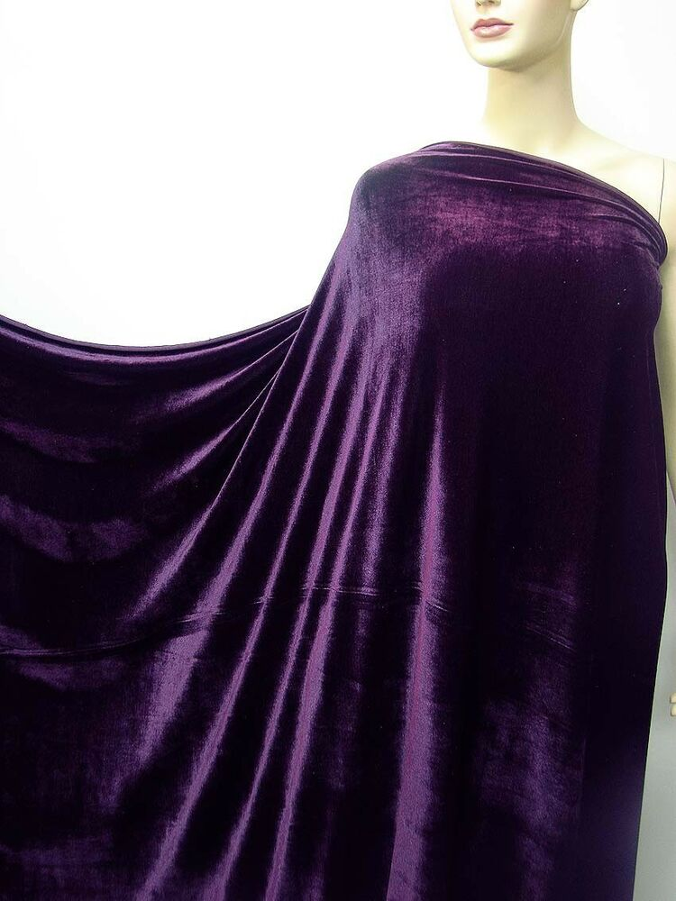 4Way Stretch Velvet Clothing Curtain Fabric Material Grape Purple By Yard EBay