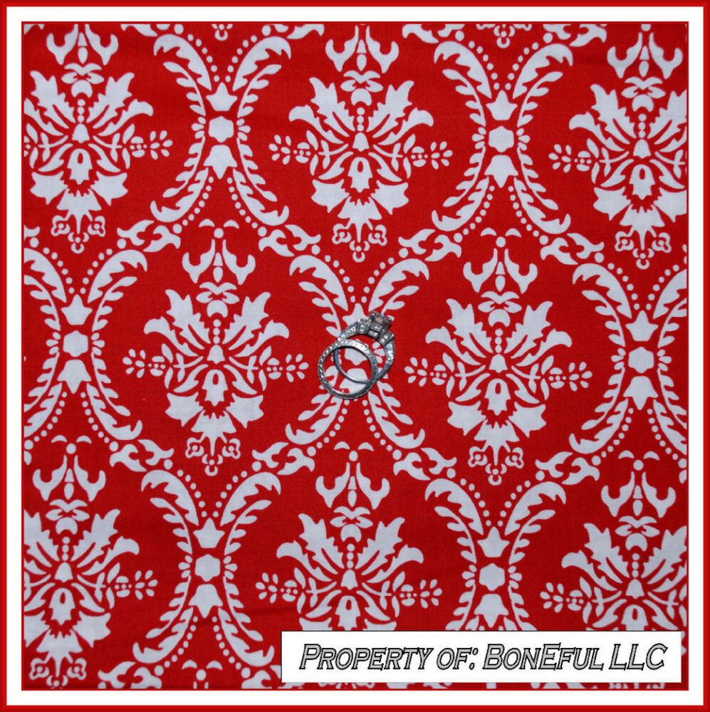 BonEful Fabric FQ Cotton Quilt Red White Damask Flower
