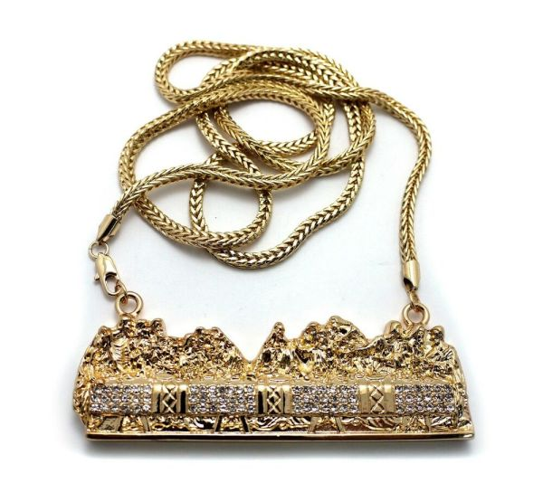 NEW ICED OUT LAST SUPPER PENDANT w4mm 36quot FRANCO CHAIN