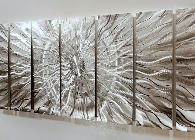 Abstract Metal Wall Art Extra Large Multiple Panel Silver