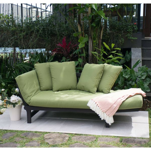 outdoor patio chairs Green Outdoor Patio Furniture Set Chair Lounger Futon Deck