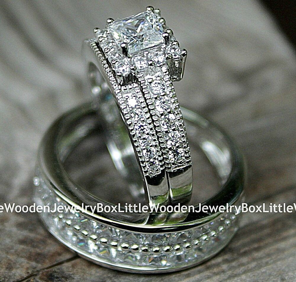 His And Hers 925 Sterling Silver White Gold Engagement