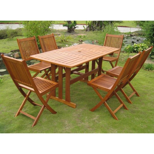 wood patio furniture table and chairs Teak Outdoor Dining Set 7 Piece Table Chairs Folding Wood