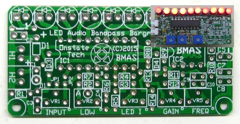 10 LED Bargraph Display PCB, DIY 3915 Audio Bandpass Color