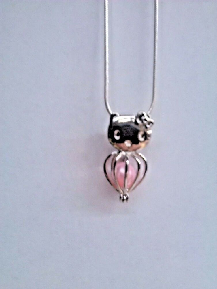 Make A Wish Pearl Cage Pendant Necklace Hello Kitty 925 ChainPearl Included EBay