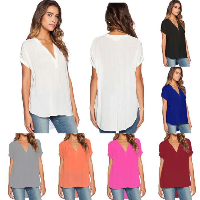 Plus Size Womens Summer Holiday V Neck Tops T-shirts