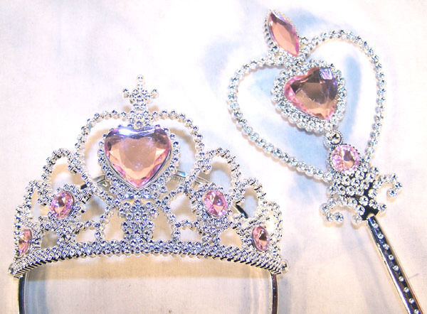 PRINCESS TIARA WAND SET Dressup Girls Crown Costume Terria