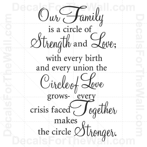 Download Our Family is a Circle of Strength and Love Wall Decal ...