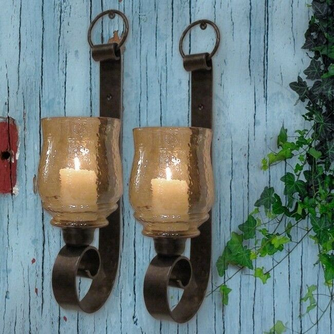 ST/2 TUSCAN FARMHOUSE Antique Iron WALL SCONCE CANDLE ... on Antique Wrought Iron Wall Candle Holders id=74005