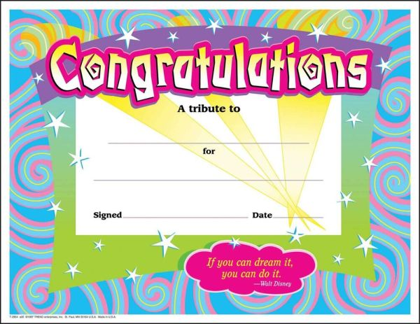 30 Congratulations Award (large) Swirl certificate award ...