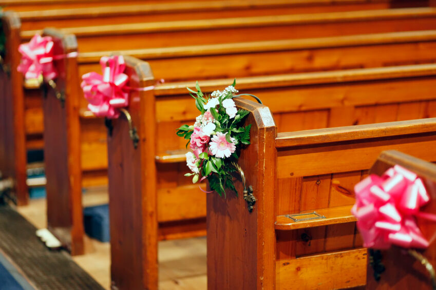 Large Pull Bows, Wedding Decoration, Church Pews, Top