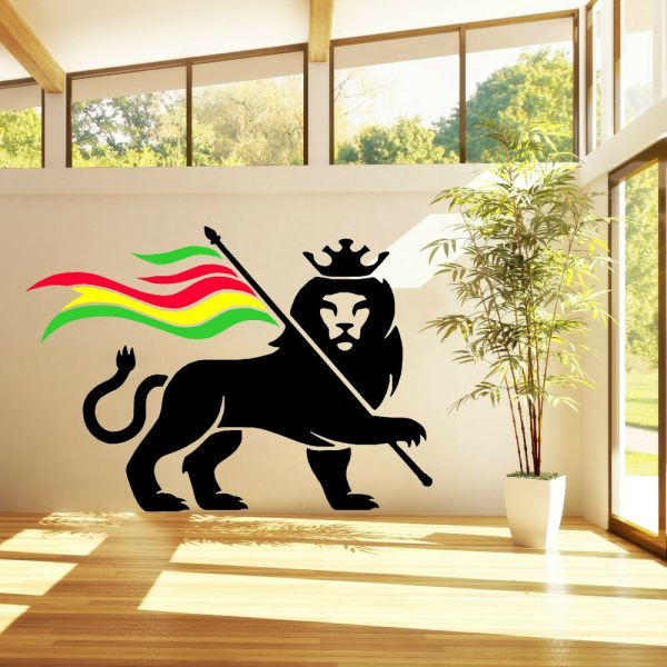 RASTA LION RASTAFARI LION OF JUDAH BOB MARLEY vinyl wall ...