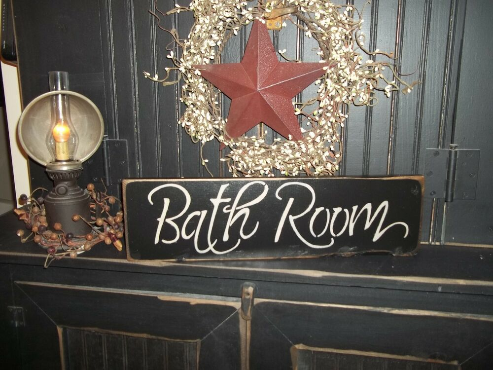 """Wood Sign """"BATH ROOM"""" Country Rustic Wall Hanging Home ... on Home Wall Decor Signs id=84744"""