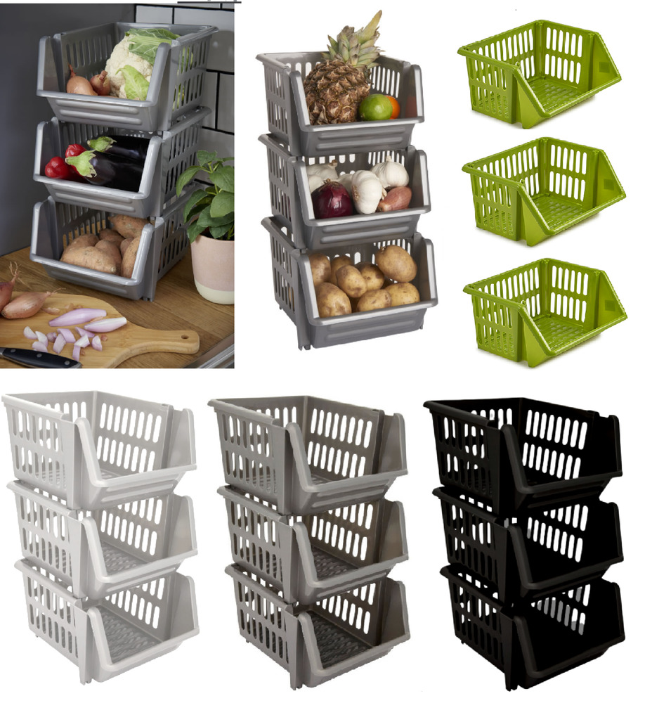 New Plastic Stacking Stackers Storage Baskets Rack 3 Tier