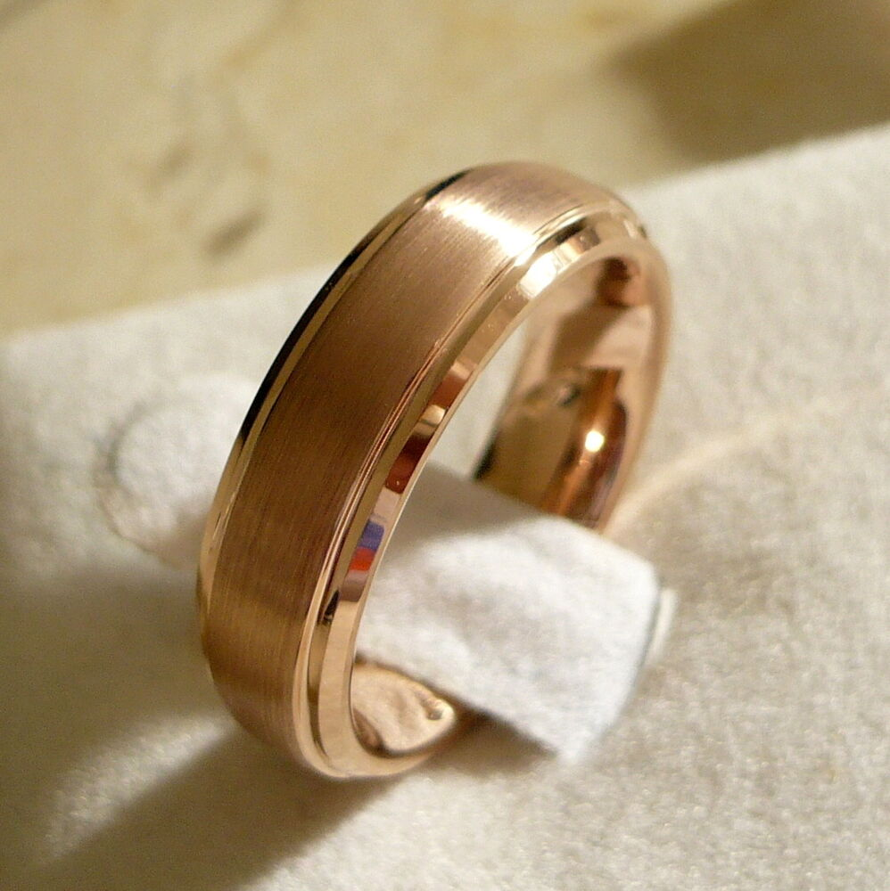 6mm TUNGSTEN CARBIDE MENS WOMENS WEDDING BAND RING ROSE