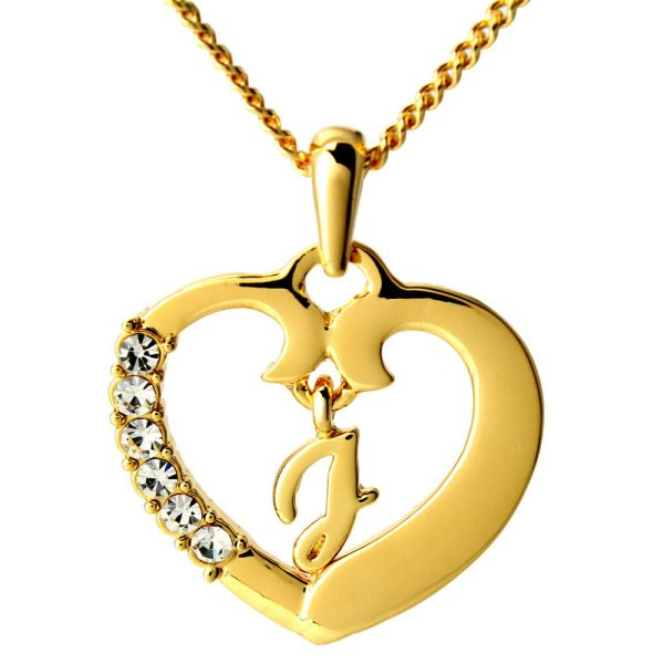 Love Heart Name Necklace Pendant J 18k Gold Plated