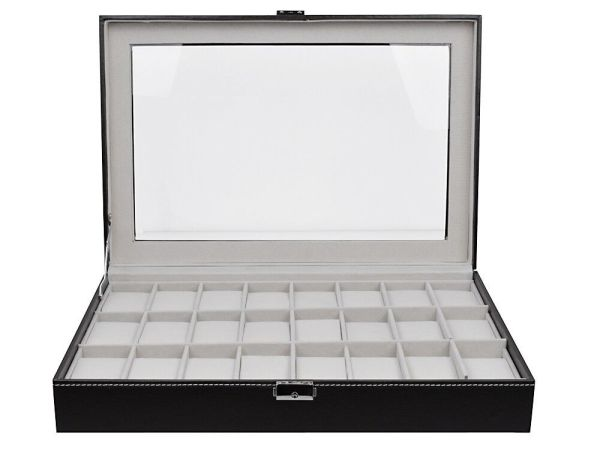 Large Watch Box Leather 24 Mens Black Display Jewelry ...
