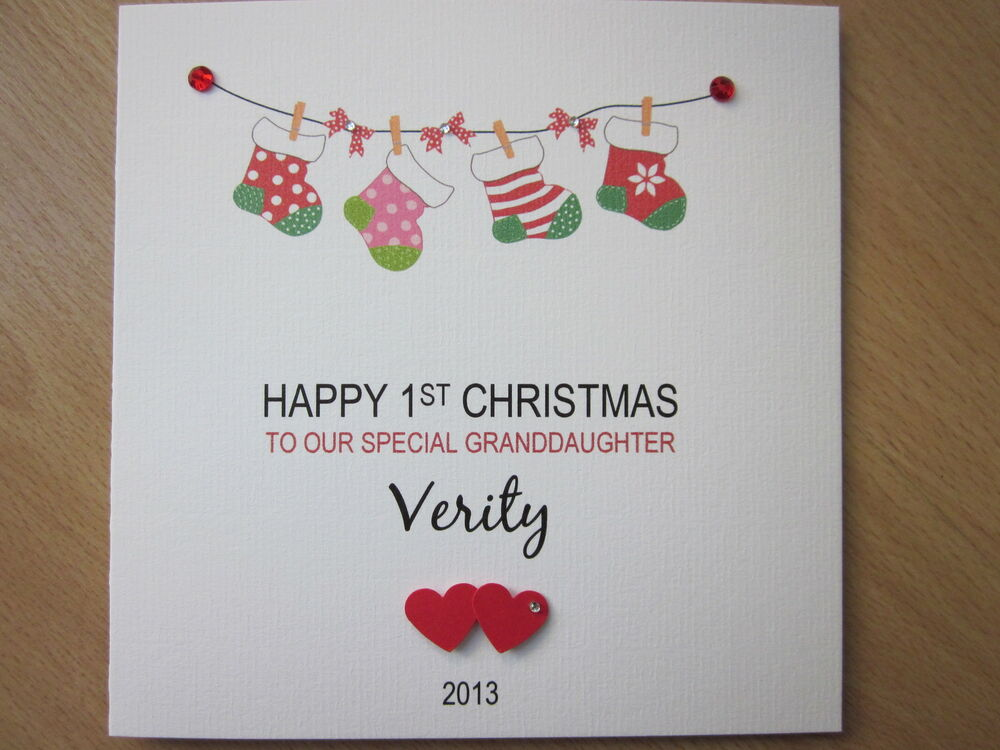 Personalised Handmade Babys 1st First Christmas Card