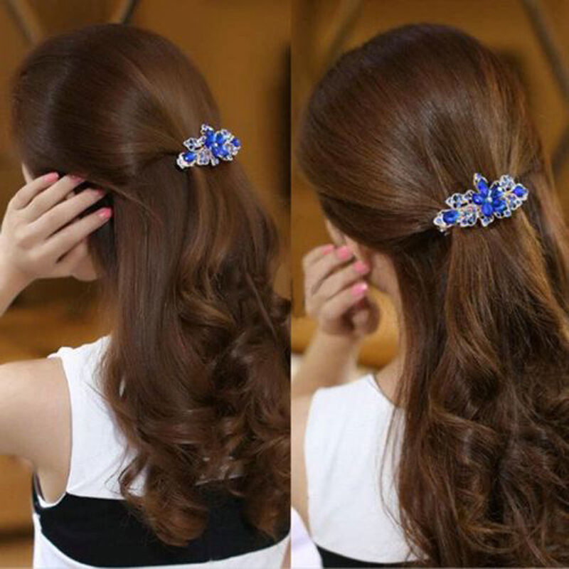 New Fashion Crystal Rhinestone Flower Hair Barrette Clip